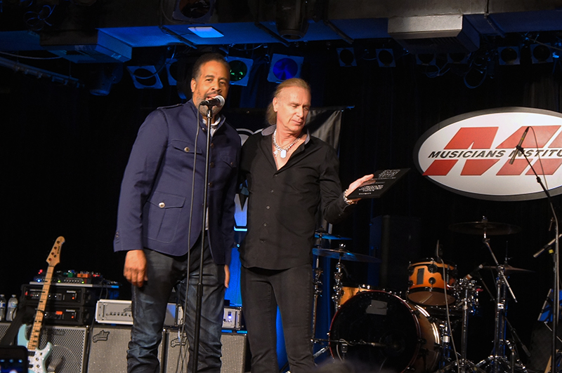 The two EBS Signature Pedal Artists - Stanley Clarke who presented the award to Billy Sheehan.