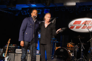 The two EBS Signature Pedal Arists - Stanley Clarke who presented the award to Billy Sheehan.