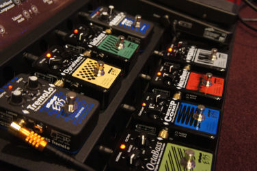 EBS demo board with the complete Black Label series of pedals.