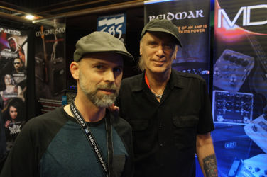 Ralf from EBS with EBS pedal artist and Lifetime Achievement Award winner Billy Sheehan.