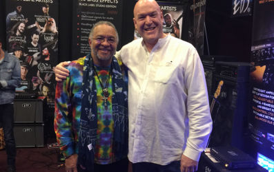 EBS Pedal Artist - and Lifetime Achievement Award Winner George Porter Jr with Jack from EBS US distributor, MDG.