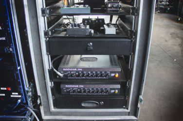 In Flames bass rig with 2x EBS Reidmar 750 amps.