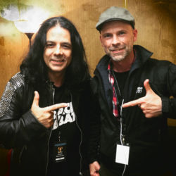 Scorpions bass player and EBS Artist Pawel Maciwoda with Ralf from EBS.
